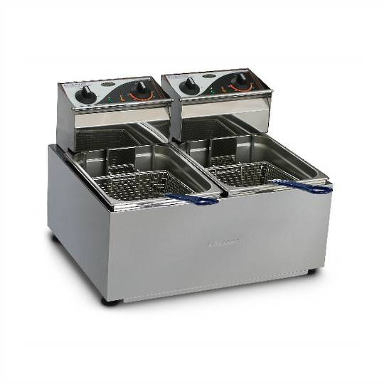 Roband F28 Double Pan Fryer 2 x 8 litre pans, 2 baskets - 2x15 amp